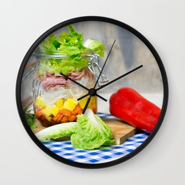 Lunch in a glass Wall Clock