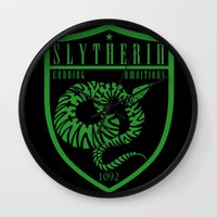 slytherin Wall Clocks featuring Slytherin Crest by machmigo