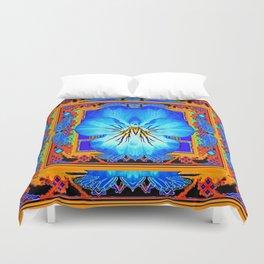 Orange Southwest Blue pansy Patterned Art Design Duvet Cover