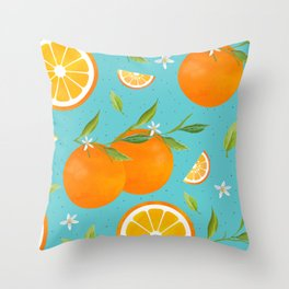 Teal Clementine Throw Pillow