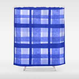 Tissue Paper Plaid - Blue Shower Curtain