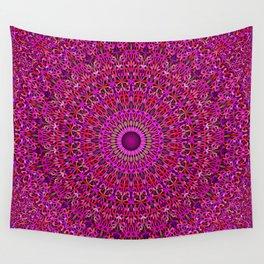 Deep Pink Garden Mandala Wall Tapestry