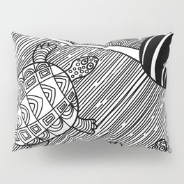 Struggle Of The Turtle To The Sea Black and White Pillow Sham