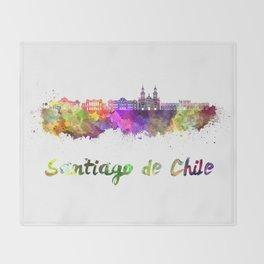 Santiago de Chile V2 skyline in watercolor  Throw Blanket