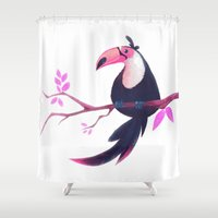 toucan Shower Curtains featuring Toucan by Katikut