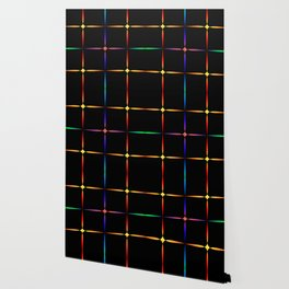Neon diamonds. Pattern or background of multicolored neon stars on a black background Wallpaper