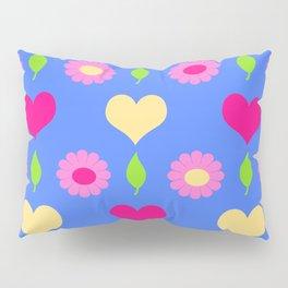 Daisy heart print, blue pink peach Pillow Sham