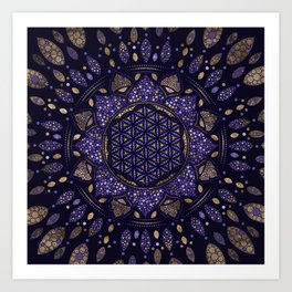 Flower of Life in Lotus Dot Art purples and gold Art Print