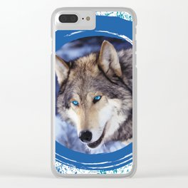 Blue-Eyed Wolf Clear iPhone Case