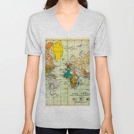 Map of the old world Unisex V-Neck
