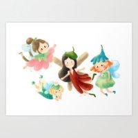 fairies Art Prints featuring Fairies by Laura Gómez