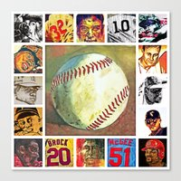 baseball Canvas Prints featuring baseball by 6-4-3