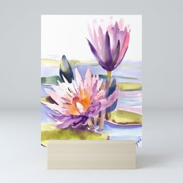 Water Lily,  Lotus, Asian Ink drawing Zen brush pink purple flower Mini Art Print