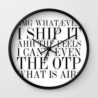 fandom Wall Clocks featuring Fangirling is so Vogue by bookwormboutique