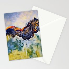 Wild Horse in Sea of Grass watercolor by CheyAnne Sexton Stationery Cards
