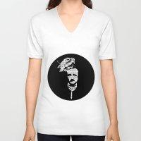 edgar allan poe V-neck T-shirts featuring Edgar Allan Poe collage by GraphicDivine