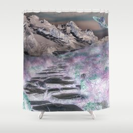 Cobble Stone Road Through The Mountains Towards Saturn Shower Curtain