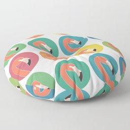 Flamingo on Teal Floor Pillow