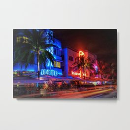 South Beach Miami Portrait in Colorful Time Lapse Paint by Jeanpaul Ferro Metal Print