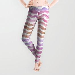 Blush pink purple brown watercolor wave stripes Leggings