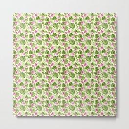 Hand painted pink green watercolor tropical monster leaves floral Metal Print