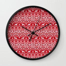 Husky fair isle red and white minimal christmas dog pattern gifts huskies Wall Clock