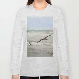 Seagulls flying over rough sea Long Sleeve T-shirt