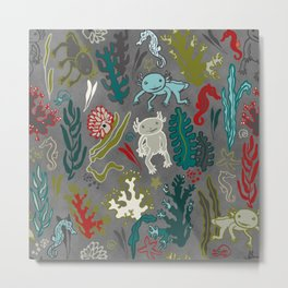 Strange creatures in the seabed. Gray and red Metal Print