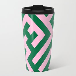 Cotton Candy Pink and Cadmium Green Diagonal Labyrinth Travel Mug