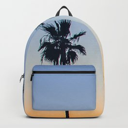 Sunset Ocean Palm trees Silhouettes (blue and orange) Backpack