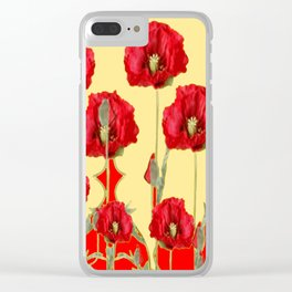 RED POPPIES ON CREAM ART NOUVEAU DESIGN Clear iPhone Case