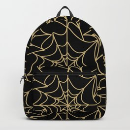 Gothic Halloween Spider Web Gold Backpack