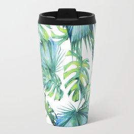 Blue Jungle Leaves, Monstera, Palm #society6 Travel Mug