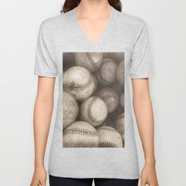 Bucket of Old Baseballs in Sepia Unisex V-Neck