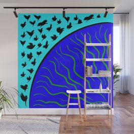 Flying Bird. Crows fly over planet Earth Wall Mural