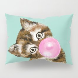 Bubble Gum Baby Cat in Green Pillow Sham