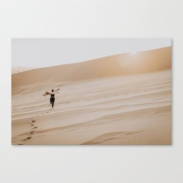 Free Spirit Running Through the Sand Dunes Canvas Print