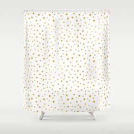 Gold Star Sprinkle on White Shower Curtain