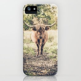 Highland scottish cow cattle long horn iPhone Case