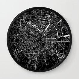 Milan Black Map Wall Clock