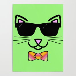 Cool Cat Wearing Bow Tie Poster