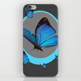 NEON BLUE BUTTERFLIES  & CHARCOAL GREY PATTERN iPhone Skin