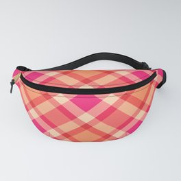 Large Modern Plaid, Orange, Coral and Fuchsia Pink Fanny Pack