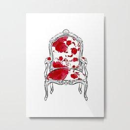 Red Floral Armchiar Metal Print