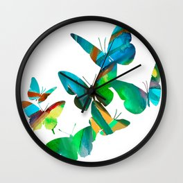 Green Butterflies Wall Clock