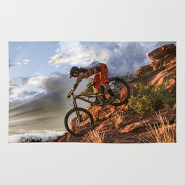 Mountain Bike in Rugged Mountain Terrain in Sunbeams Rug