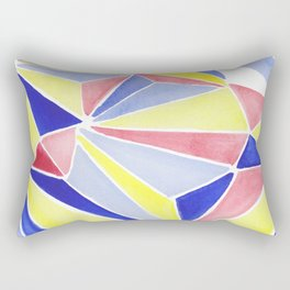 Watercolor colorful beach triangles. Watercolor geometry 3D effect. Rectangular Pillow
