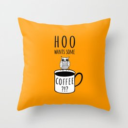 Coffee poster with owl Throw Pillow