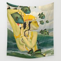 mermaid Wall Tapestries featuring MERMAID by Julia Lillard Art