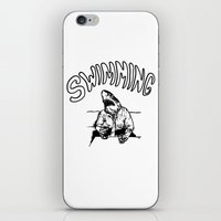 swimming iPhone & iPod Skins featuring Swimming by Akoala